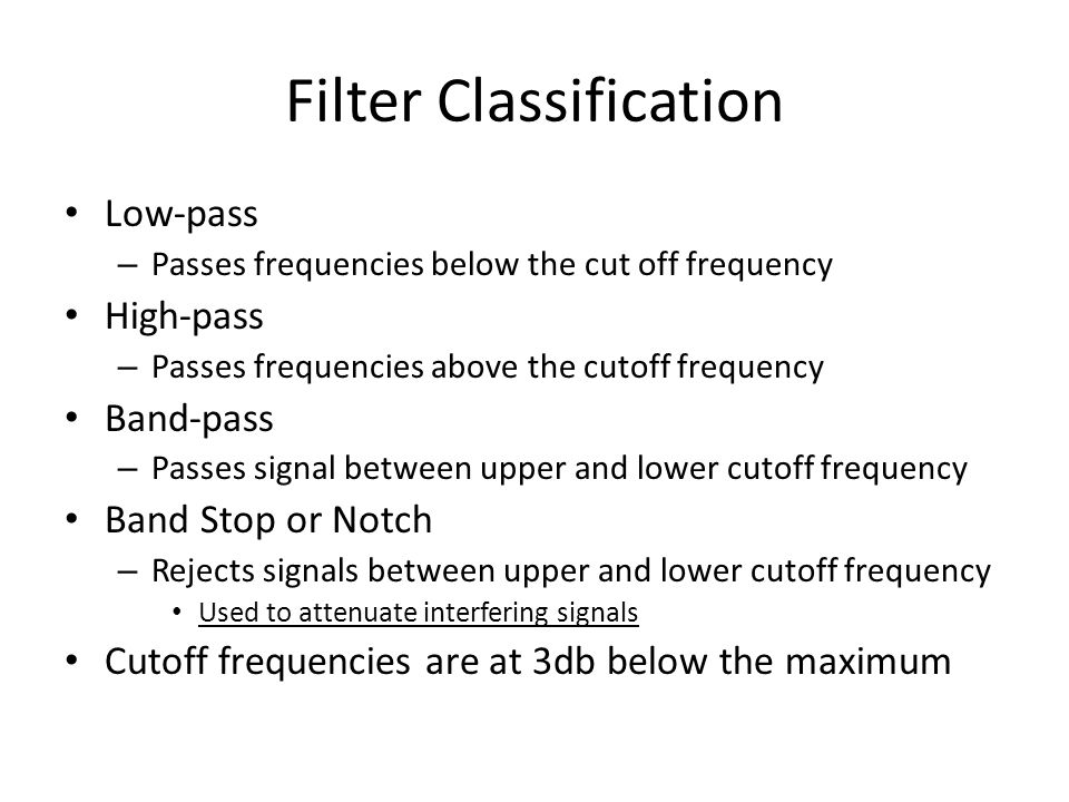 Filter Classification