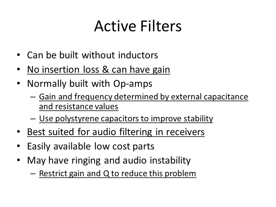 Active Filters Can be built without inductors