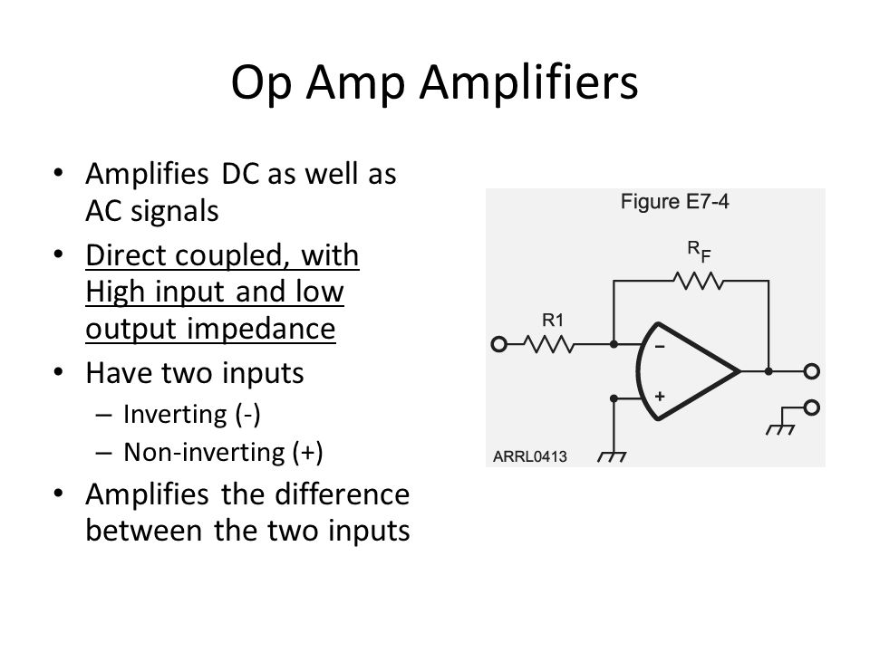 Op Amp Amplifiers Amplifies DC as well as AC signals