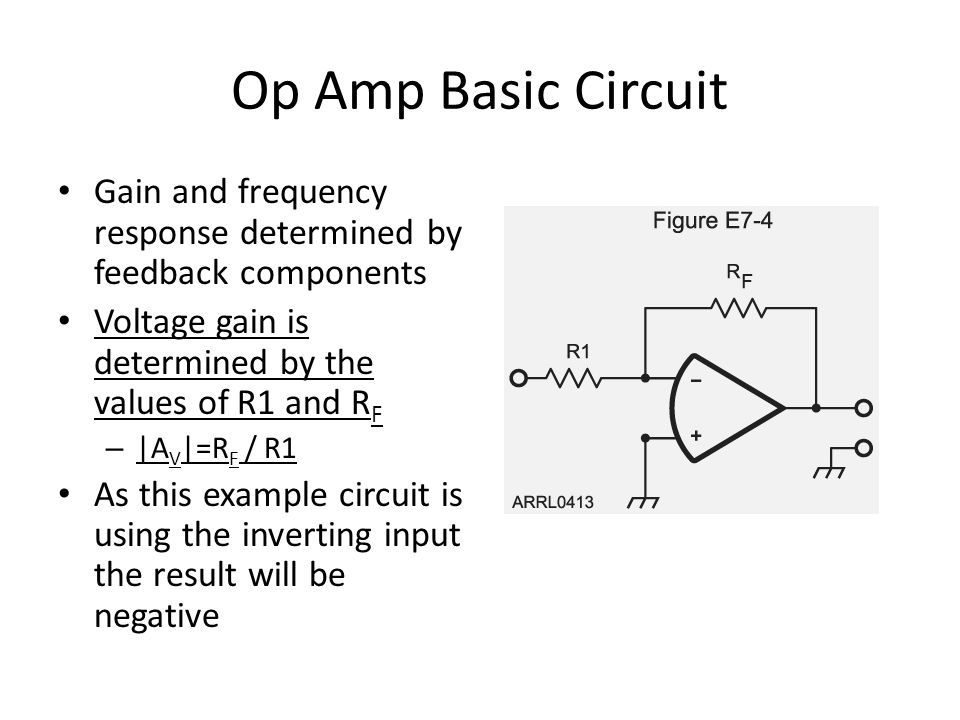 Op Amp Basic Circuit Gain and frequency response determined by feedback components. Voltage gain is determined by the values of R1 and RF.