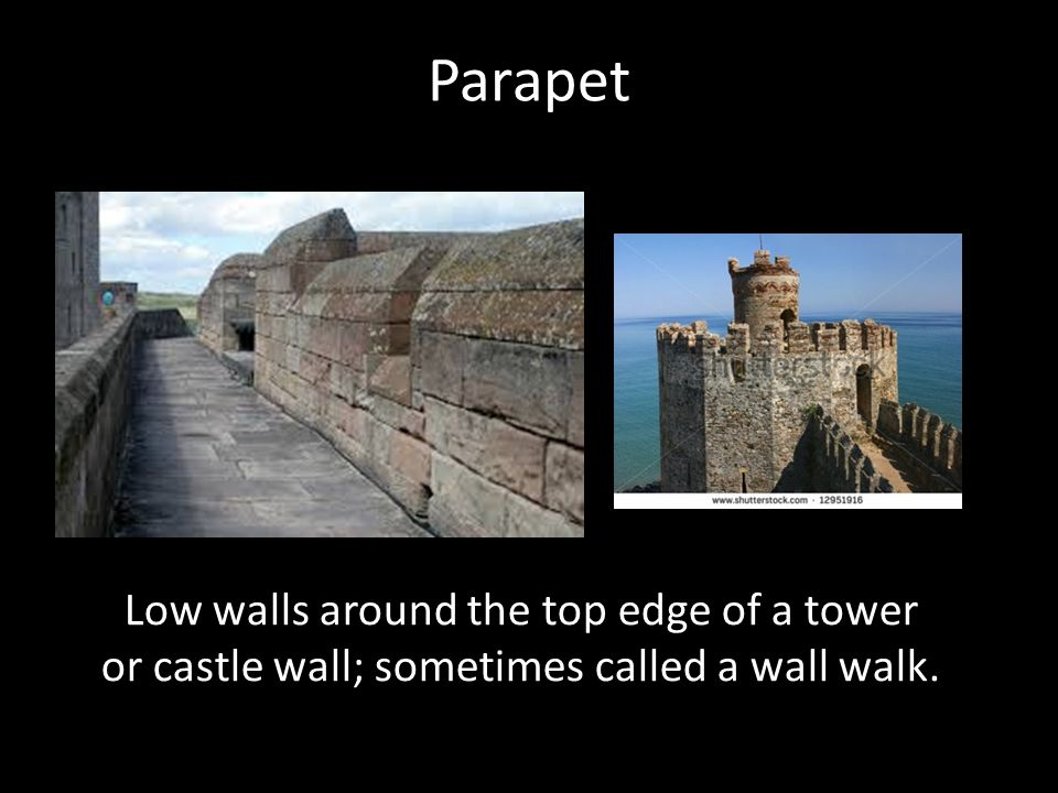 Parapet Low walls around the top edge of a tower or castle wall; sometimes called a wall walk.