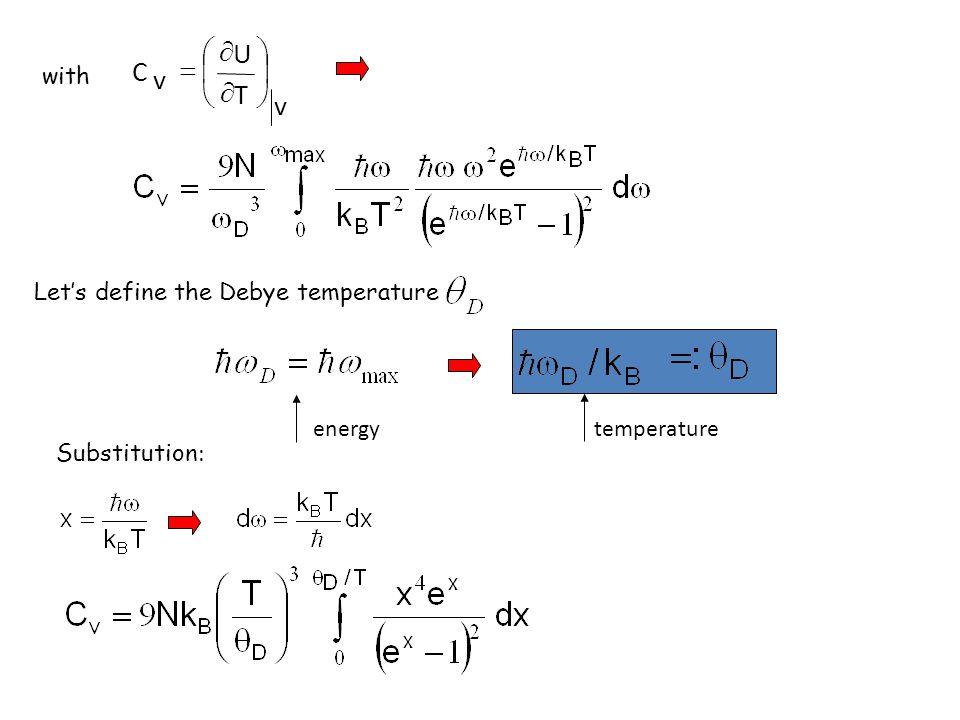 v T U C ÷ ø ö ç è æ ¶ = with Let's define the Debye temperature energy