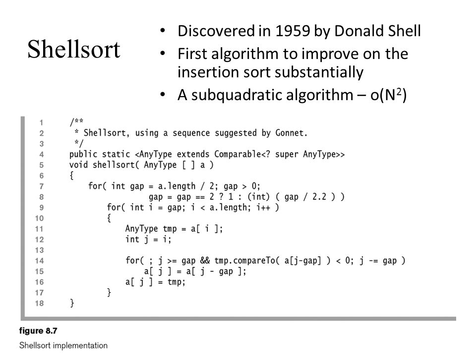 Shellsort Discovered in 1959 by Donald Shell