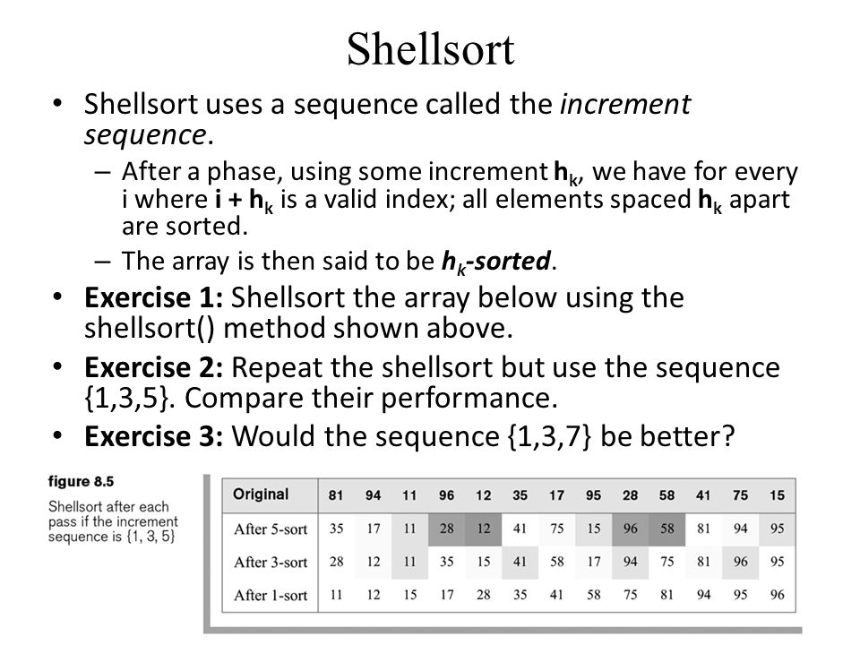 Shellsort Shellsort uses a sequence called the increment sequence.