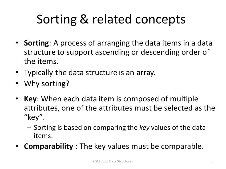 Sorting & related concepts