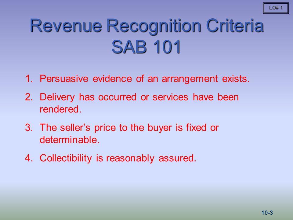 Revenue Recognition Criteria SAB 101