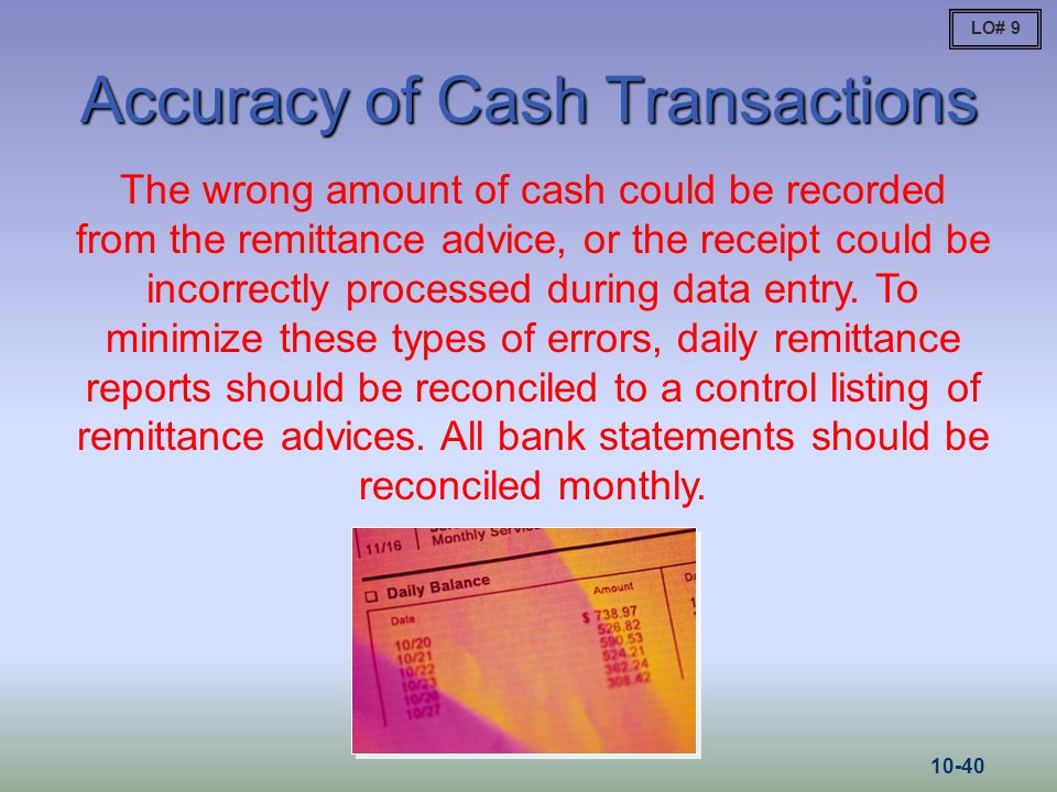 Accuracy of Cash Transactions
