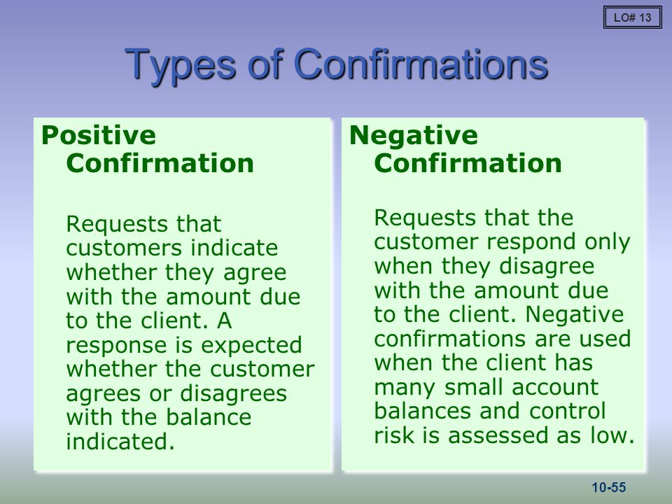 Types of Confirmations