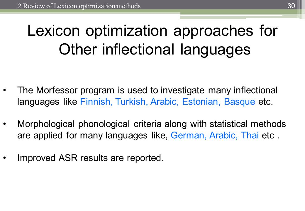 Lexicon optimization approaches for Other inflectional languages