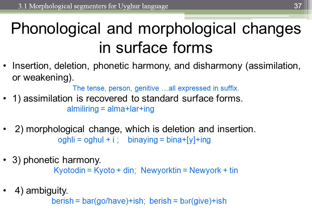 Phonological and morphological changes in surface forms