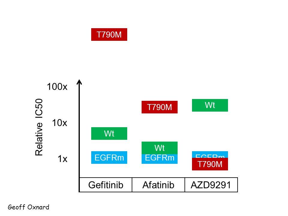 100x 10x Relative IC50 1x Gefitinib Afatinib AZD9291 T790M Wt T790M Wt
