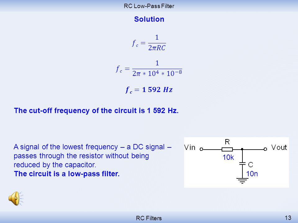 The cut-off frequency of the circuit is 1 592 Hz.