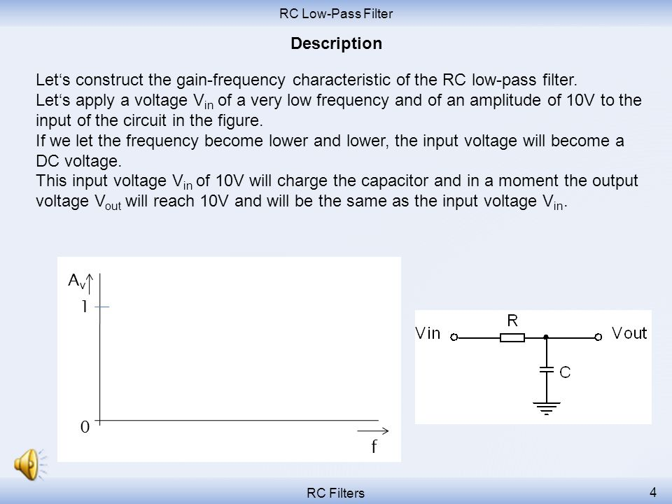 RC Low-Pass Filter Description. Let's construct the gain-frequency characteristic of the RC low-pass filter.