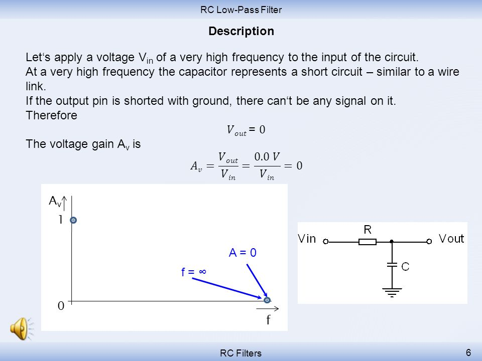 RC Low-Pass Filter Description. Let's apply a voltage Vin of a very high frequency to the input of the circuit.