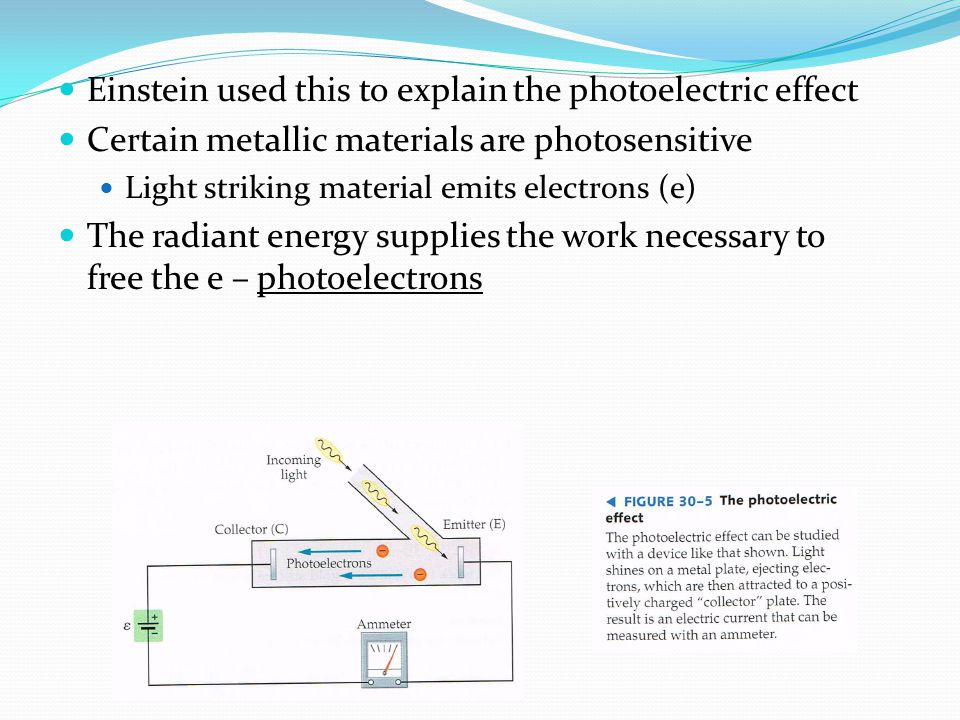 Einstein used this to explain the photoelectric effect