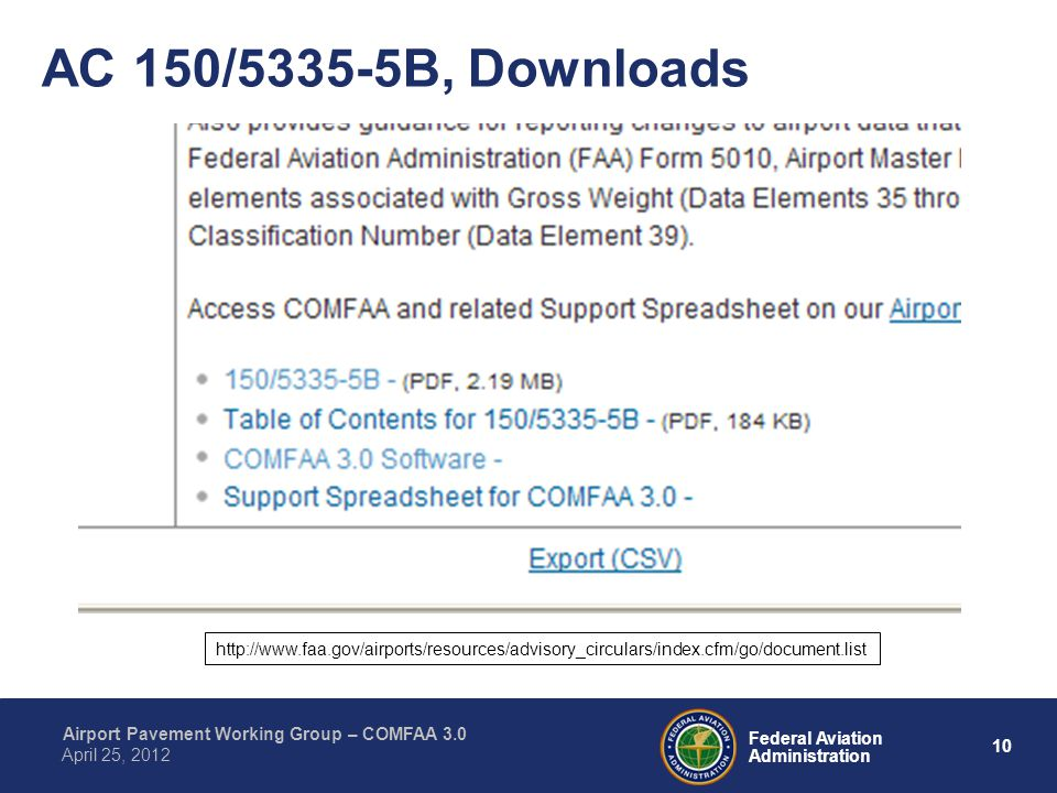 AC 150/5335-5B, Downloads http://www.faa.gov/airports/resources/advisory_circulars/index.cfm/go/document.list.