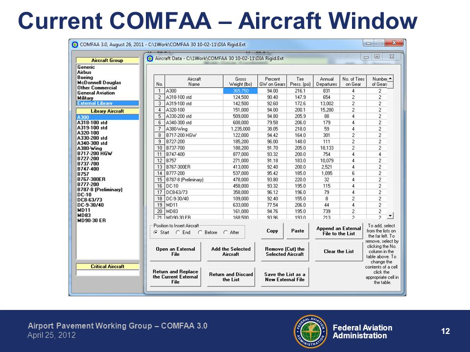 Current COMFAA – Aircraft Window