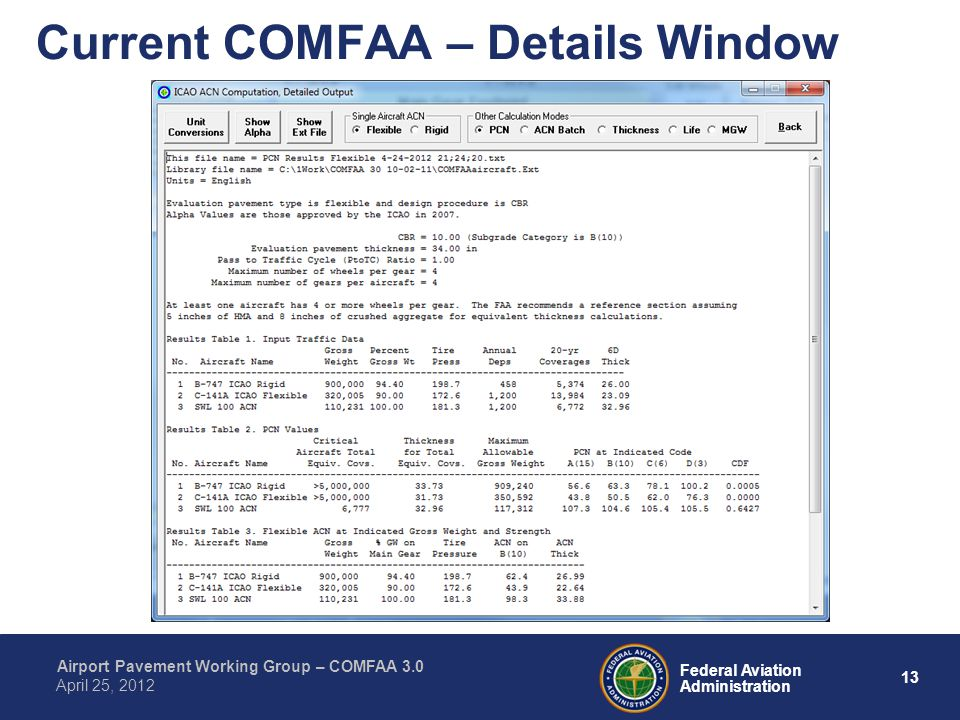 Current COMFAA – Details Window