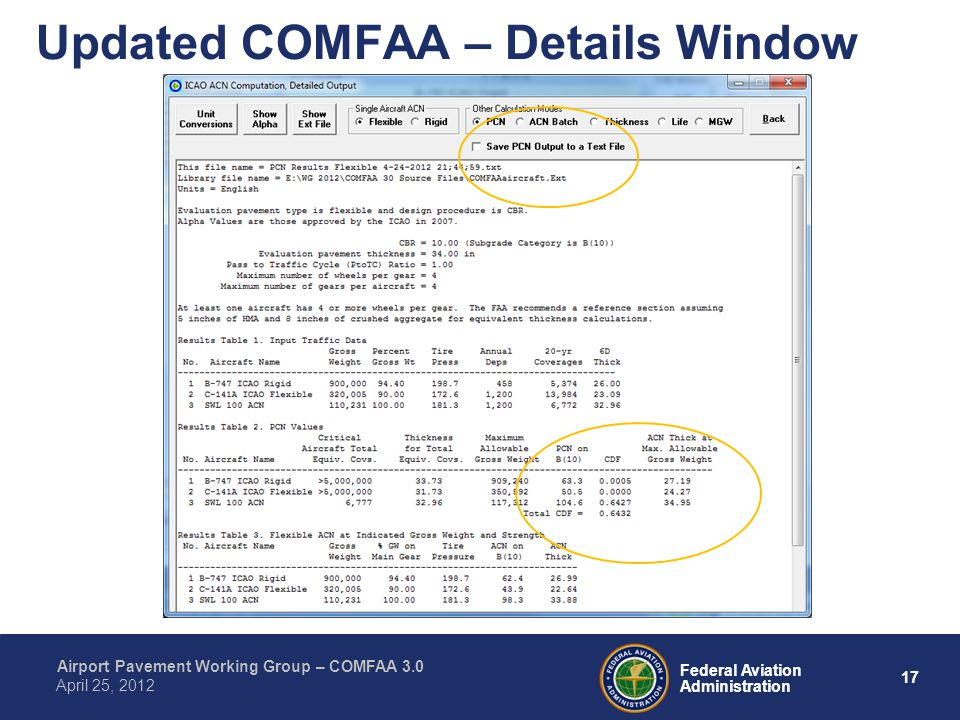 Updated COMFAA – Details Window