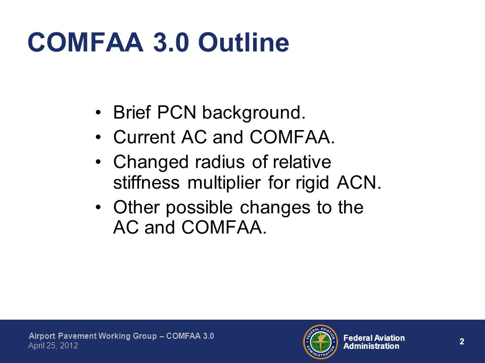 COMFAA 3.0 Outline Brief PCN background. Current AC and COMFAA.