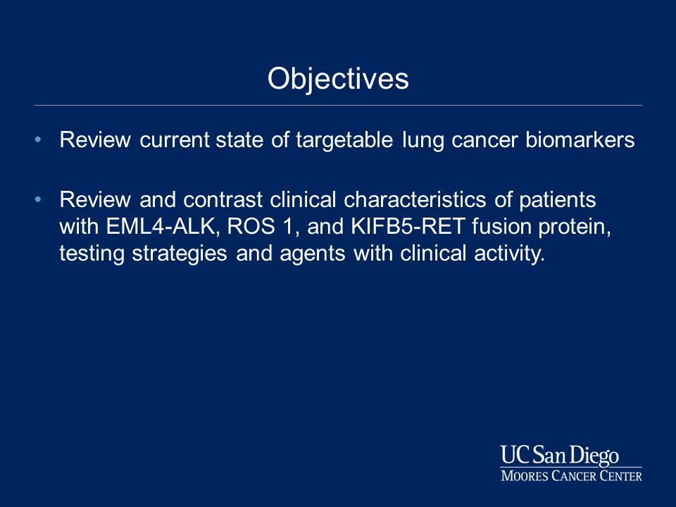 Objectives Review current state of targetable lung cancer biomarkers