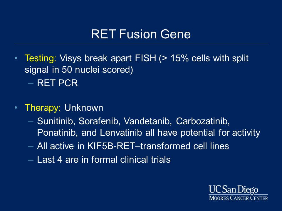 RET Fusion Gene Testing: Visys break apart FISH (> 15% cells with split signal in 50 nuclei scored)