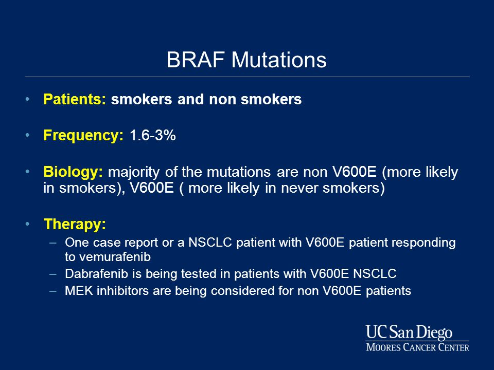 BRAF Mutations Patients: smokers and non smokers Frequency: 1.6-3%