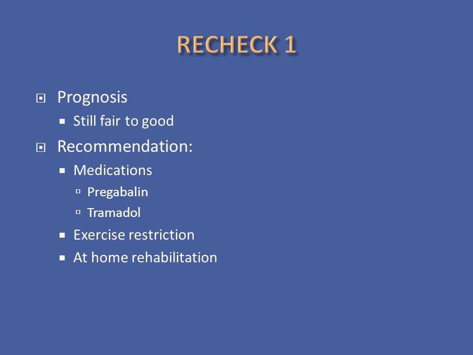RECHECK 1 Prognosis Recommendation: Still fair to good Medications