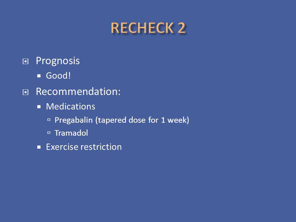 RECHECK 2 Prognosis Recommendation: Good! Medications