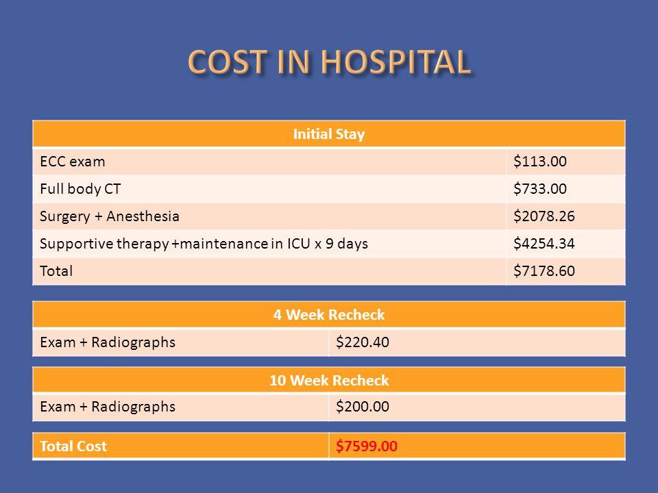 COST IN HOSPITAL Initial Stay ECC exam $113.00 Full body CT $733.00