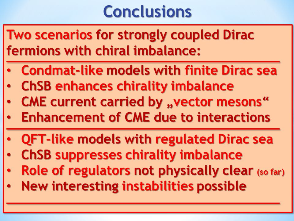 Conclusions Two scenarios for strongly coupled Dirac fermions with chiral imbalance: Condmat-like models with finite Dirac sea.