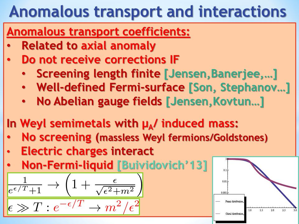 Anomalous transport and interactions
