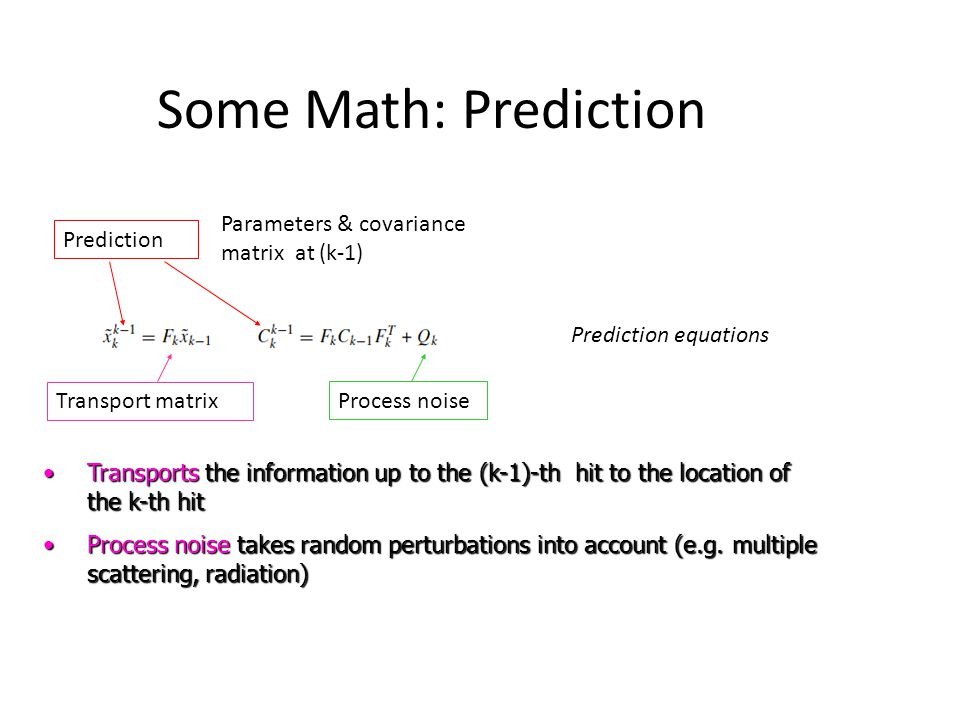 Some Math: Prediction Parameters & covariance matrix at (k-1)