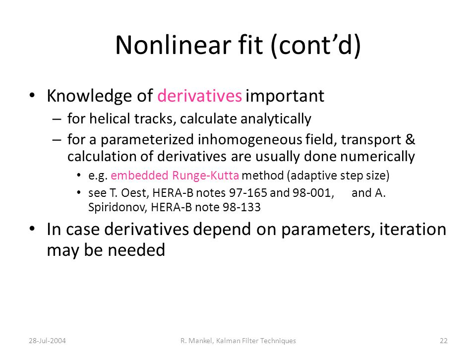 Nonlinear fit (cont'd)