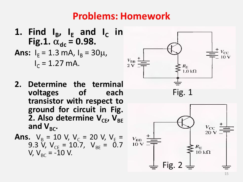 Problems: Homework Find IB, IE and IC in Fig.1. dc = 0.98. Fig. 1