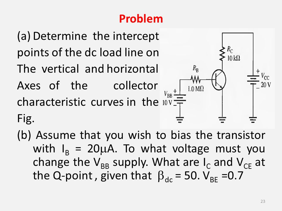 Problem Determine the intercept. points of the dc load line on. The vertical and horizontal. Axes of the collector.