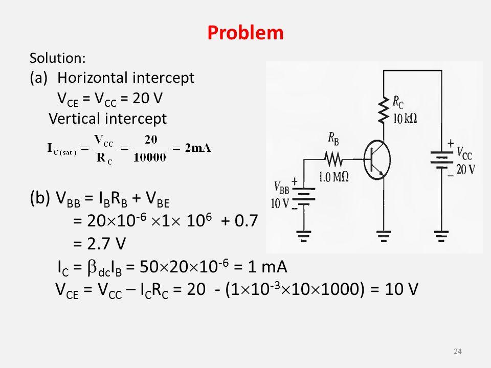 Problem (b) VBB = IBRB + VBE = 2010-6 1 106 + 0.7 = 2.7 V