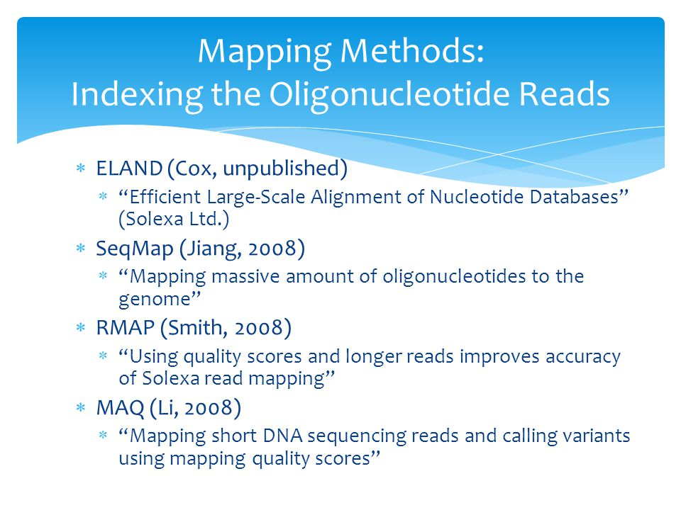 Mapping Methods: Indexing the Oligonucleotide Reads