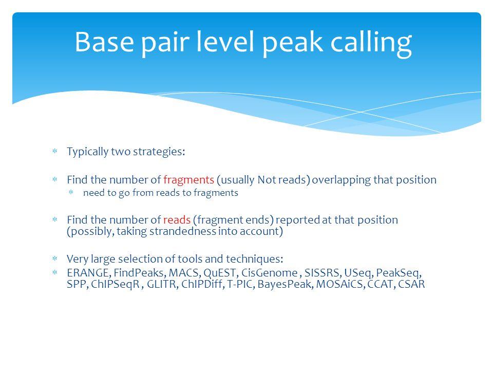 Base pair level peak calling