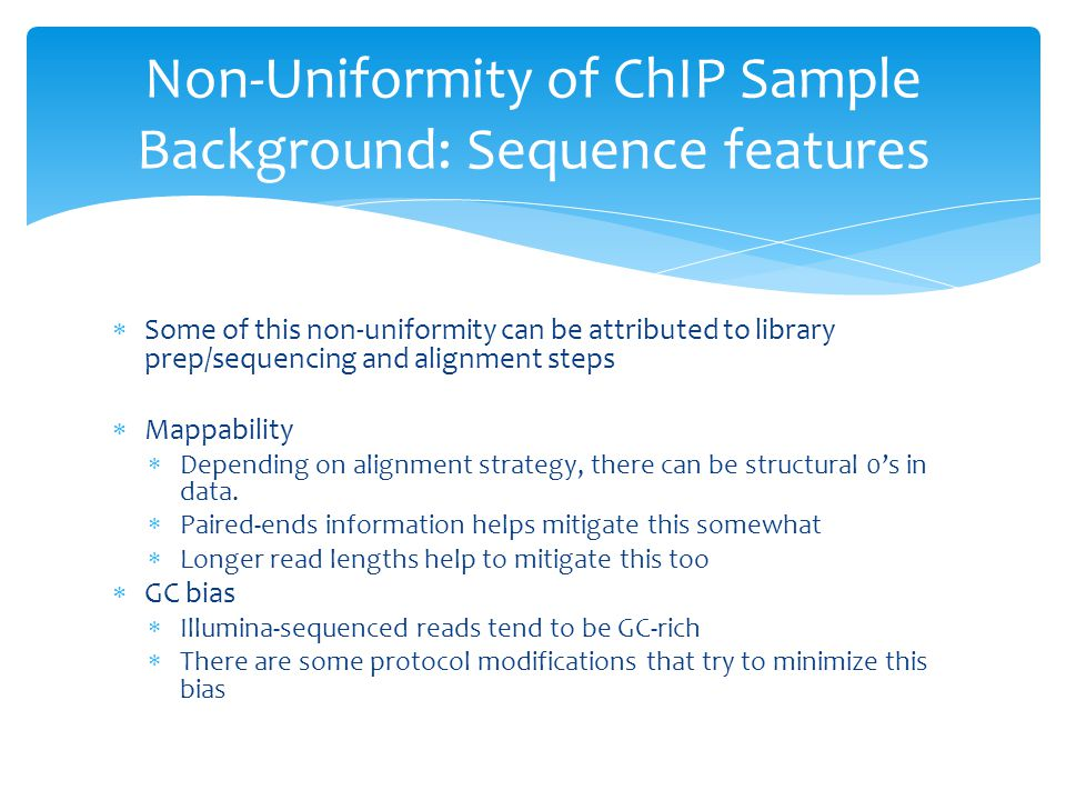 Non-Uniformity of ChIP Sample Background: Sequence features