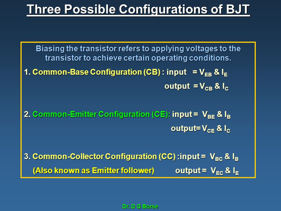 Three Possible Configurations of BJT