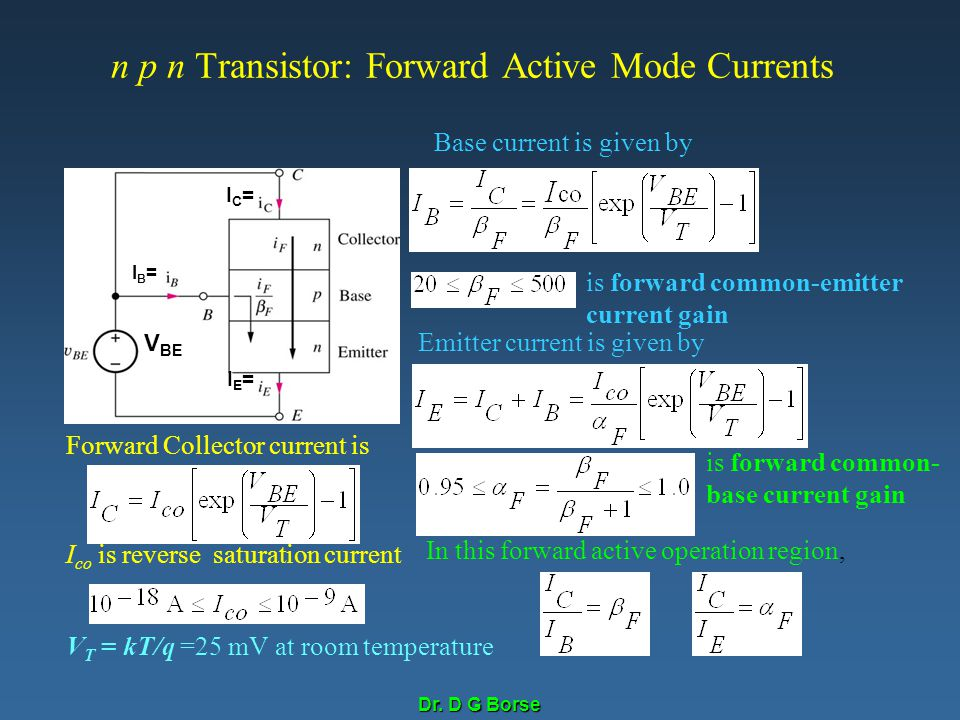 n p n Transistor: Forward Active Mode Currents