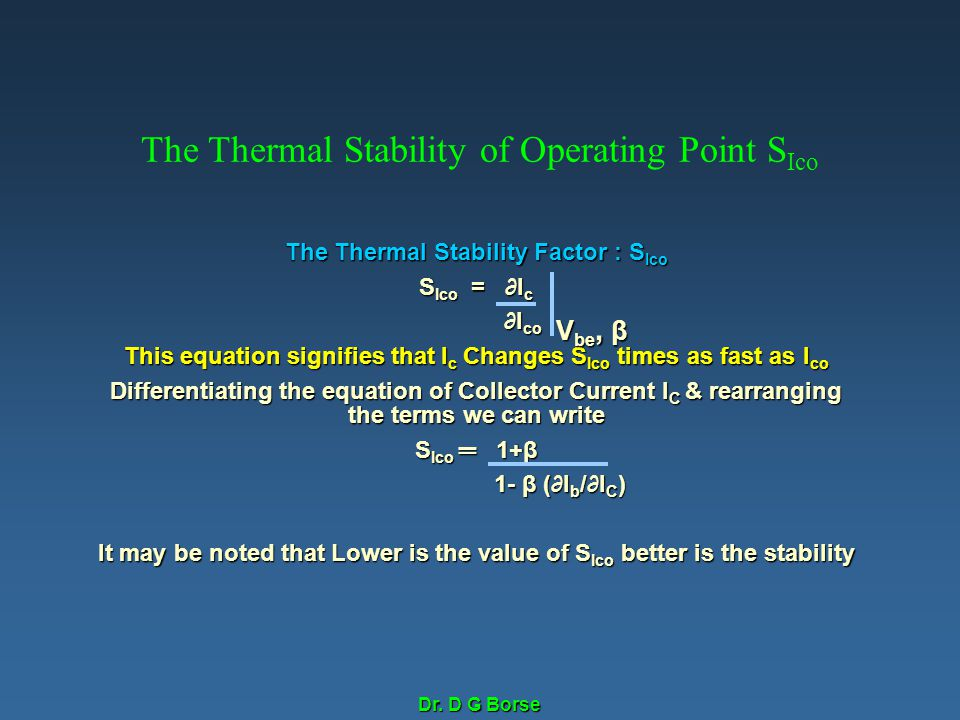 The Thermal Stability of Operating Point SIco