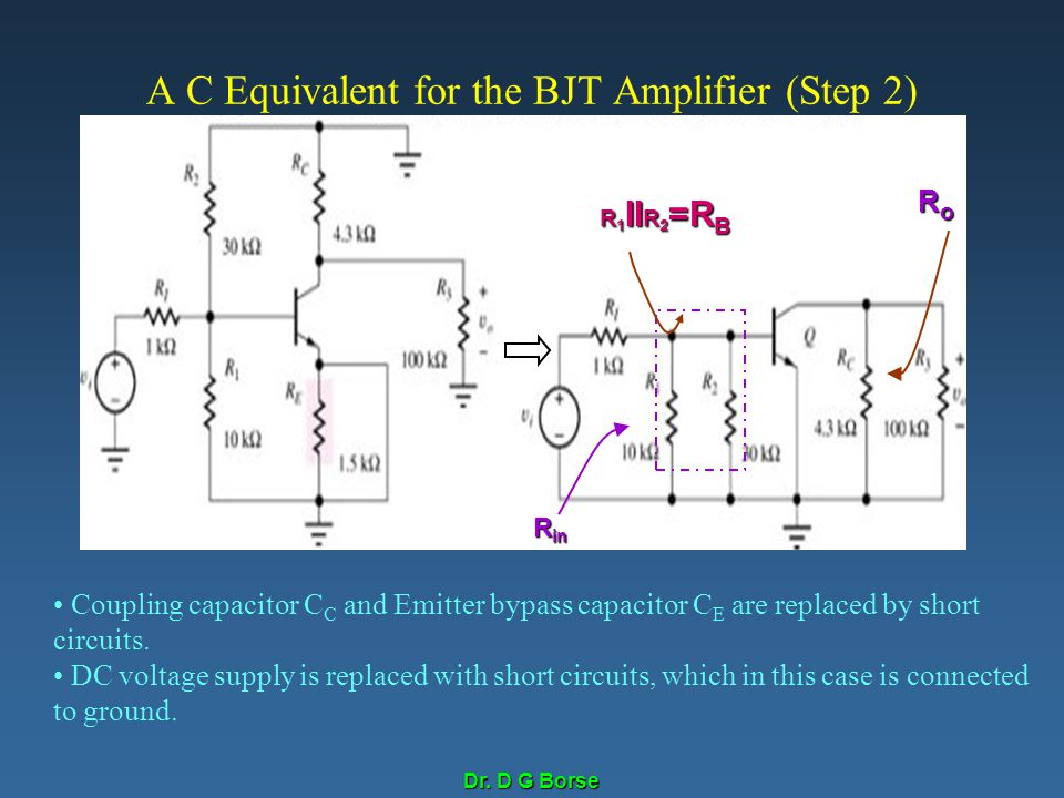 A C Equivalent for the BJT Amplifier (Step 2)