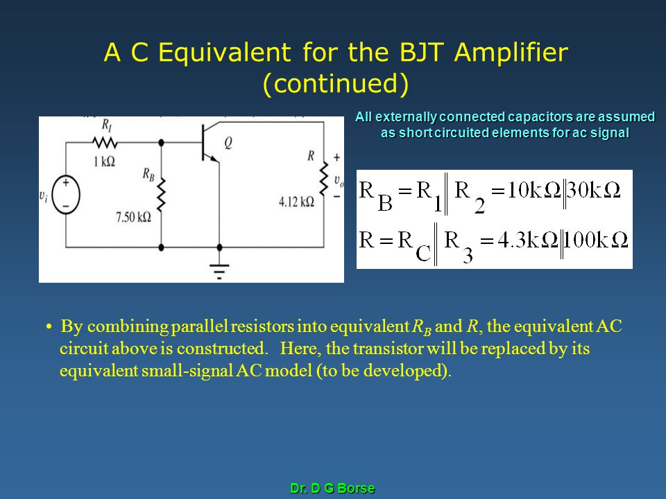 A C Equivalent for the BJT Amplifier (continued)