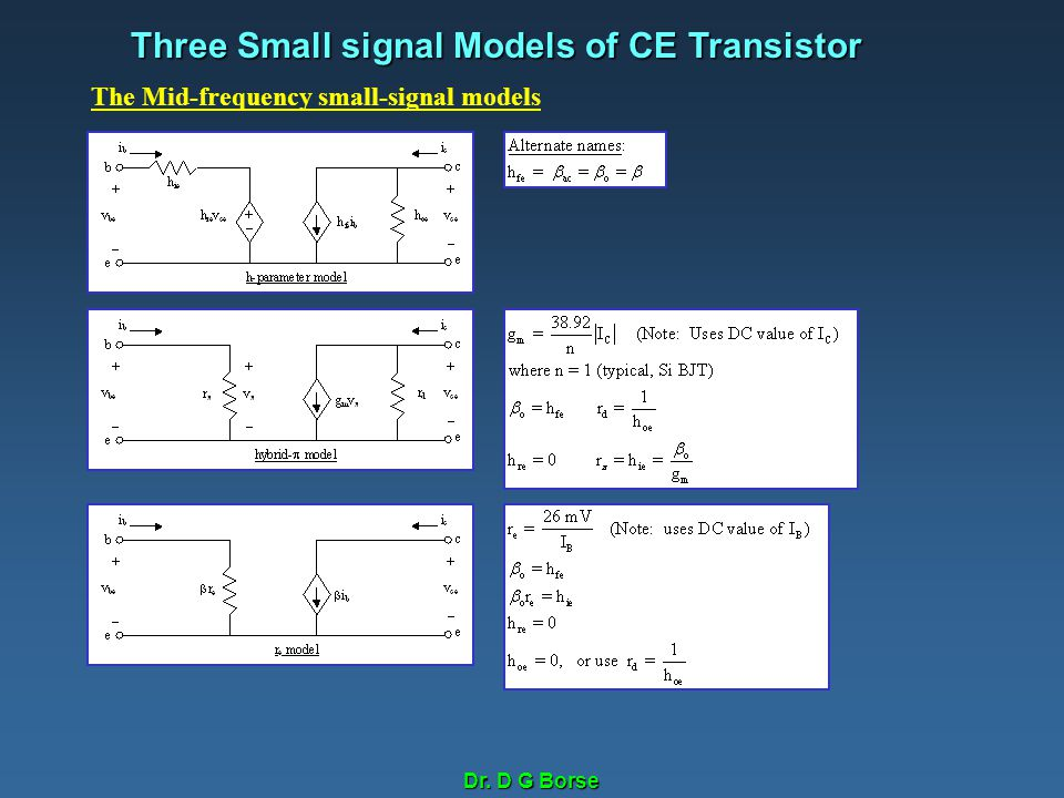 Three Small signal Models of CE Transistor