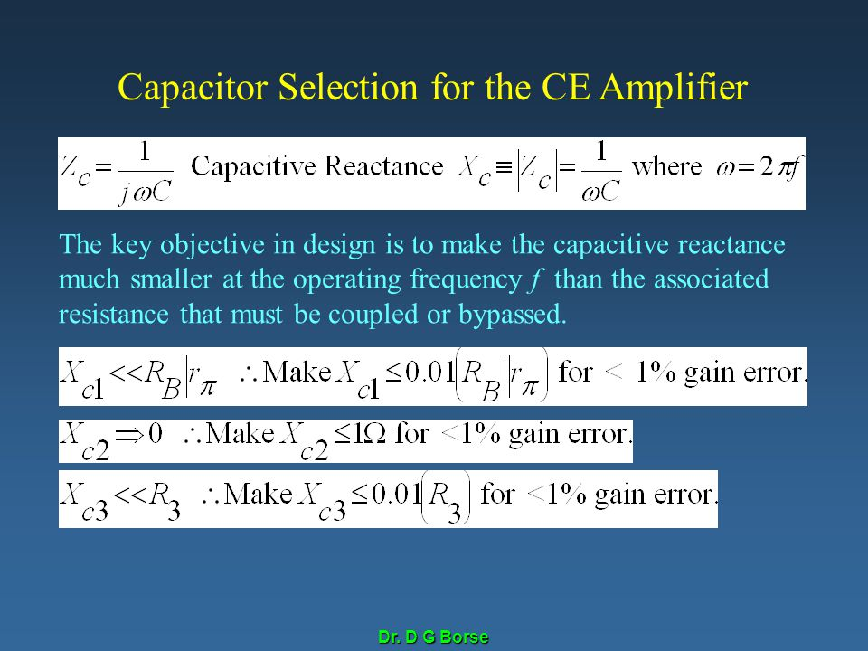 Capacitor Selection for the CE Amplifier