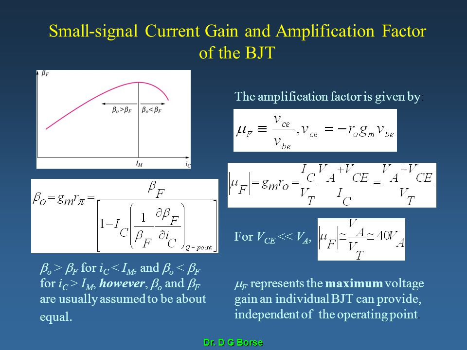 Small-signal Current Gain and Amplification Factor of the BJT