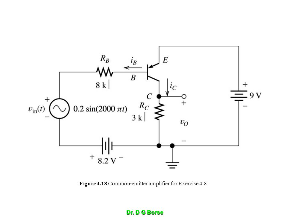 Figure 4.18 Common-emitter amplifier for Exercise 4.8.