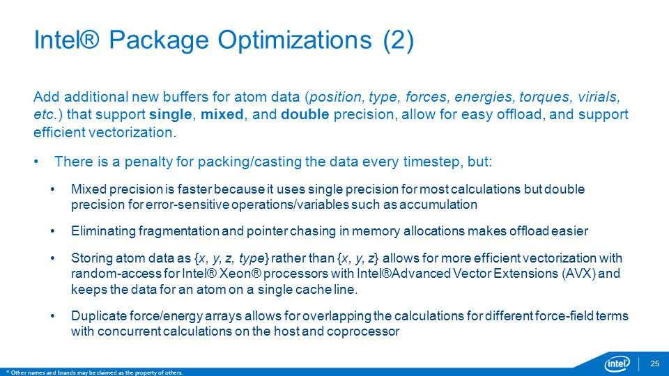 Intel® Package Optimizations (2)